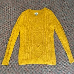 Old Navy Yellow Classic Cable-Knot Sweater